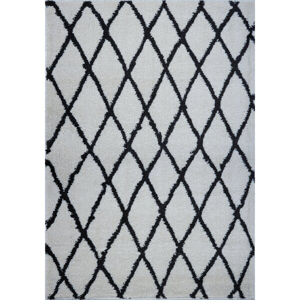 Fancy Trellis Polypropylene Ivory/Dark Gray Indoor Area Rug by Brayden Studio