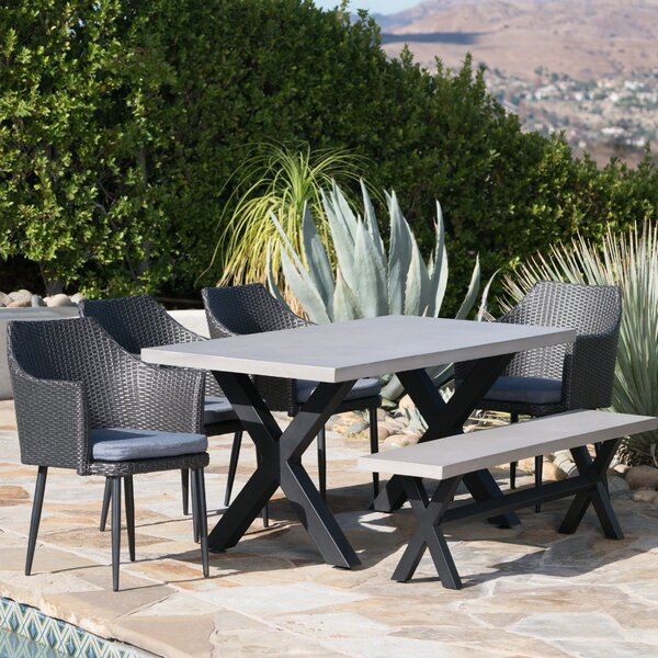 Durden Outdoor 6 Piece Dining Set with Cushions by Red Barrel Studio