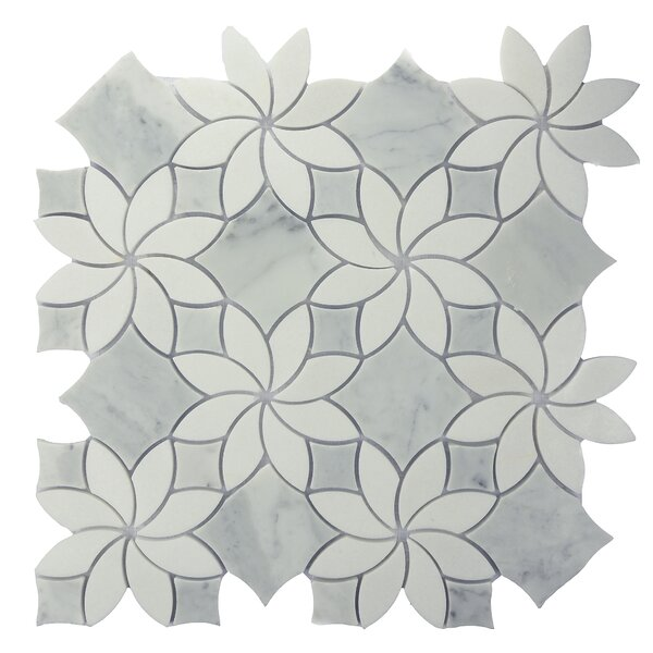Ice Flower Random Sized Marble Mosaic Tile in Gray by Byzantin Mosaic