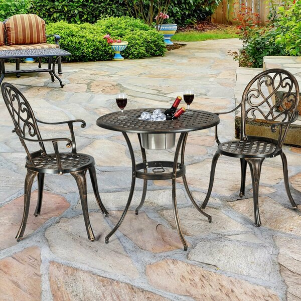 Delphine Outdoor 3 Piece Bistro Set by Fleur De Lis Living