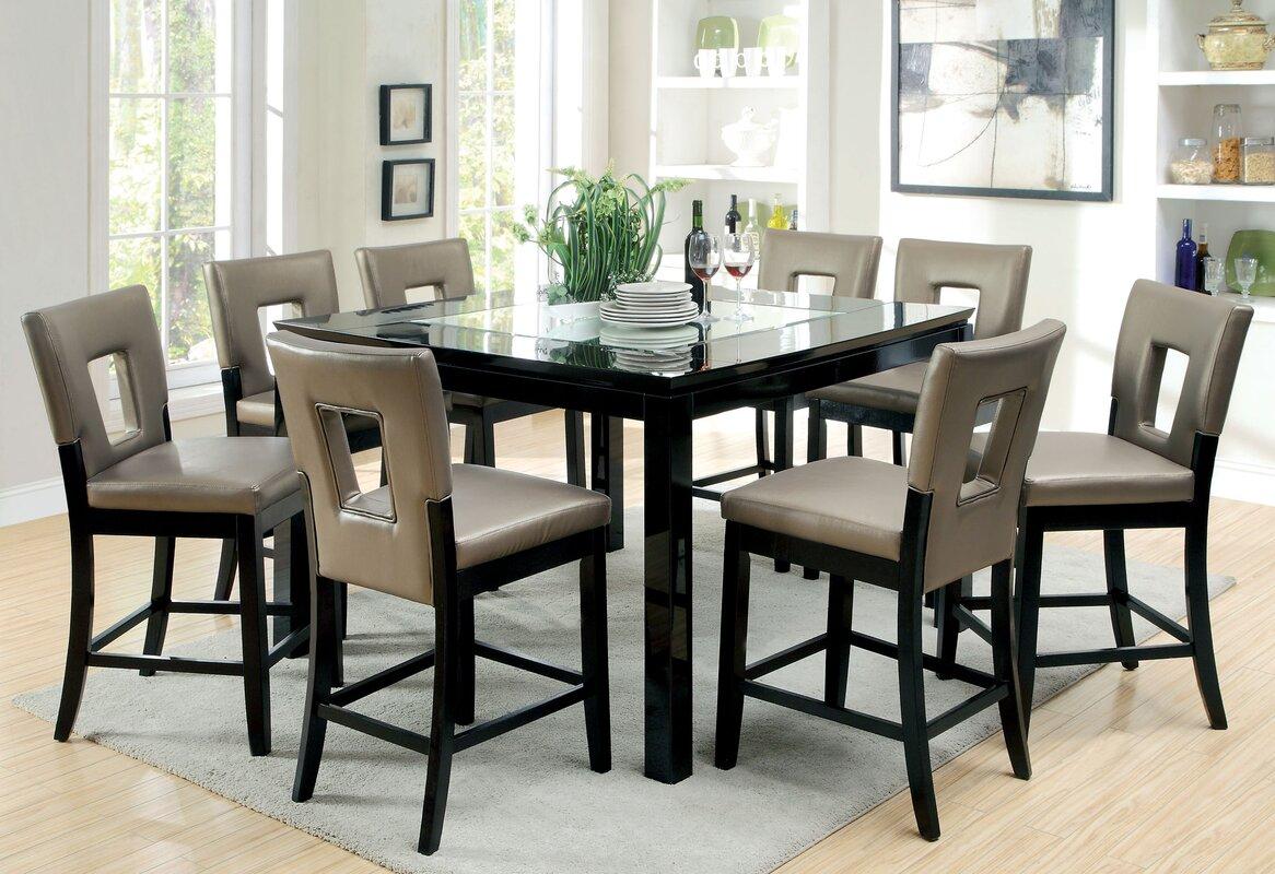Hokku Designs Vanderbilte 9 Piece Counter Height Dining Set ...