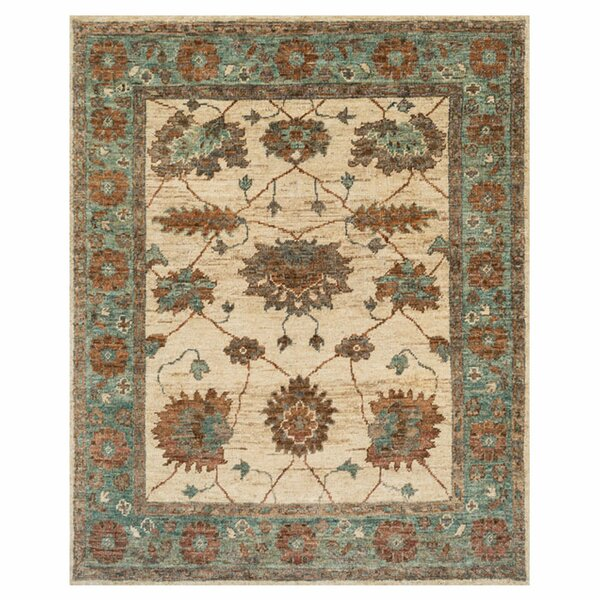 Keister Hand-Knotted Ivory/Aqua Area Rug by Alcott Hill