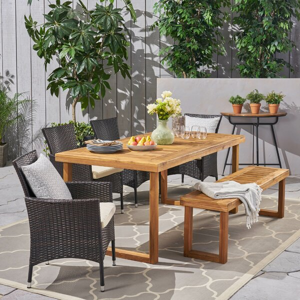 Derlyum Outdoor 6 Piece Dining Set with Cushions by Brayden Studio