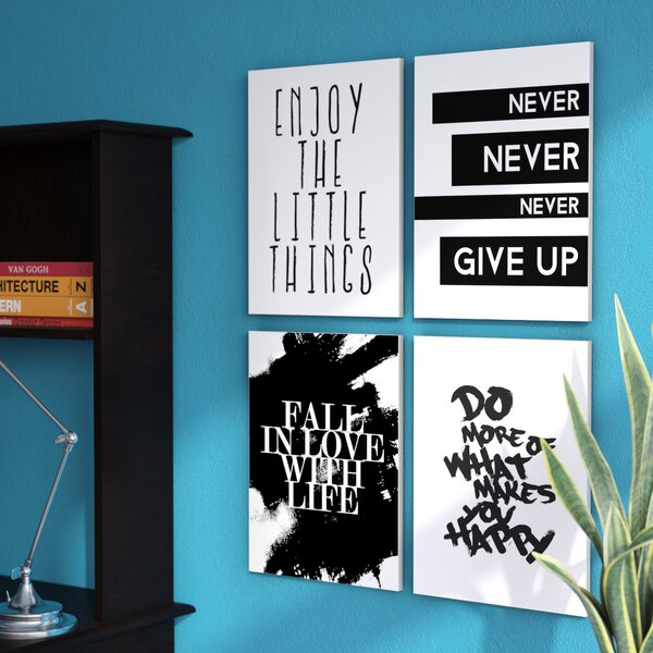 Inspirational Textual Art On Wood (Set of 4) by Zipcode Design