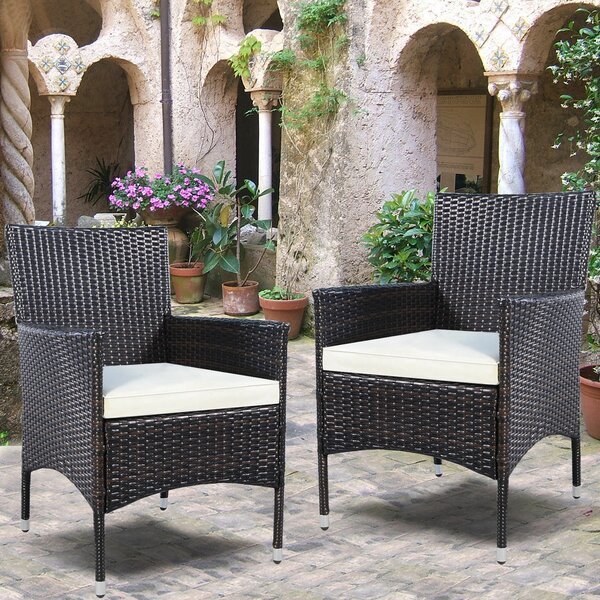 Duchesne Outdoor Wicker Patio Dining Chair with Cushion (Set of 2) by Charlton Home