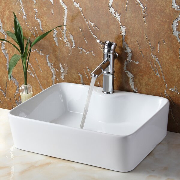 Ceramic Rectangular Vessel Bathroom Sink by Elite