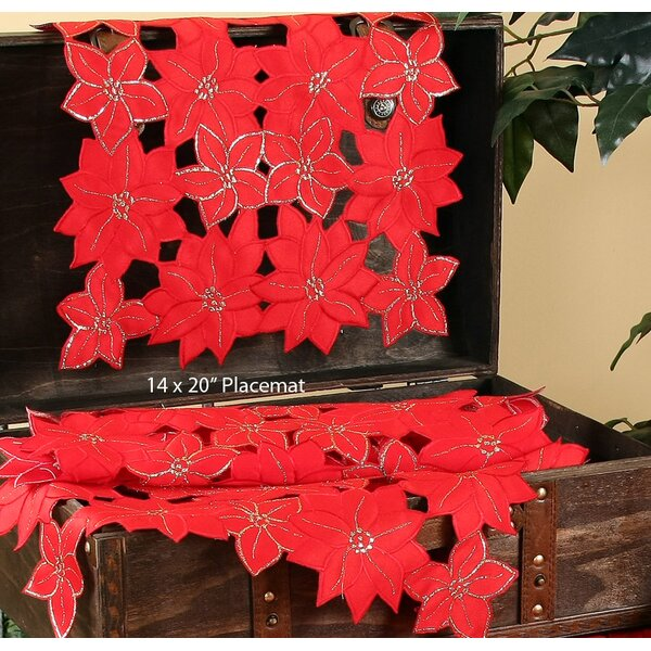 Festive Poinsettia Embroidered Cutwork Holiday Placemat (Set of 4) by The Holiday Aisle