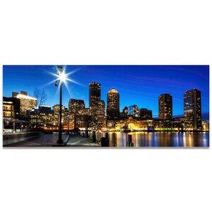 Boston at Night City Skyline Photographic Print by Metal Art Studio