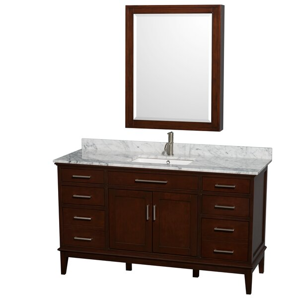 Hatton 60 Single Dark Chestnut Bathroom Vanity Set with Medicine Cabinet by Wyndham Collection