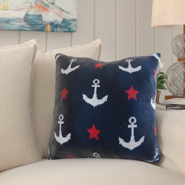 William Street Anchor Cotton Throw Pillow by Breakwater Bay
