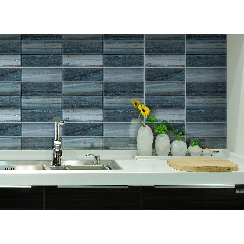 Melay Glass Palissandro 3 X 9 Glass Subway Tile Wayfair