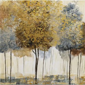 'Metallic Forest I' by Nan Painting Print on Wrapped Canvas by Wexford Home