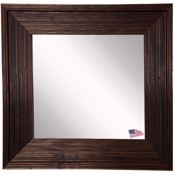 Square Brown Wall Mirror by World Menagerie