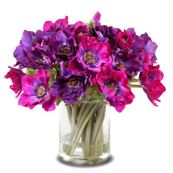 Faux Orchids Floral Arrangement in Vase by Red Barrel Studio