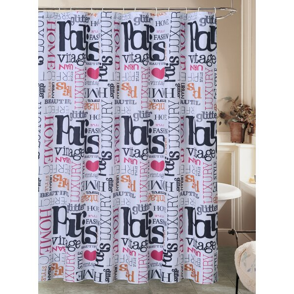 Charest Paris Glamour Chic Canvas Fabric Shower Curtain with Roller Hook by Latitude Run