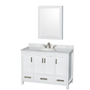 Price Check Sheffield 48 Single White Bathroom Vanity Set with Medicine Cabinet By Wyndham Collection