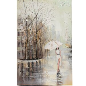 Woman Underdressed for Winter Painting Print on Canvas by ESSENTIAL DÉCOR & BEYOND, INC