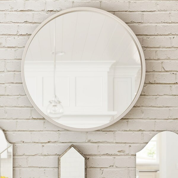 Simple Silver Frame Modern Circular Beveled Glass Wall Mirror by Majestic Mirror