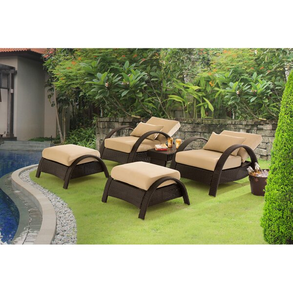 Nancy Relaxer 5 Piece Rattan Sofa Seating Group with Cushions by Latitude Run