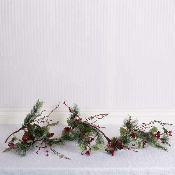Pine Garland with Jingle Bells and Berries by Adams & Co