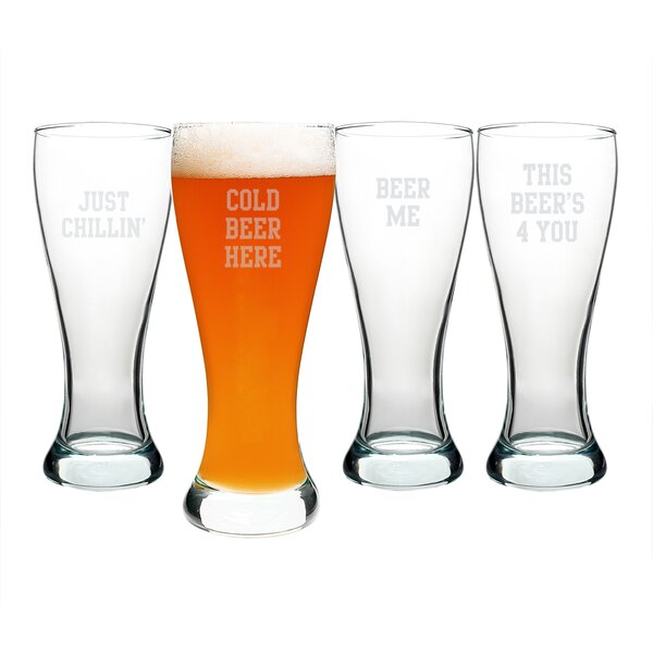 Cold Beer Here Pilsner Glass (Set of 4) by Cathys Concepts