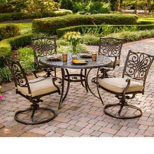 Carleton 5 Piece Dining Set with Cushion By Fleur De Lis Living