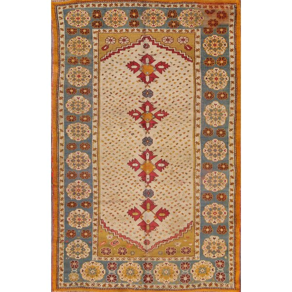 One-of-a-Kind Bovill Turkish Oriental Hand-Knotted Wool Beige/Orange Area Rug by Canora Grey