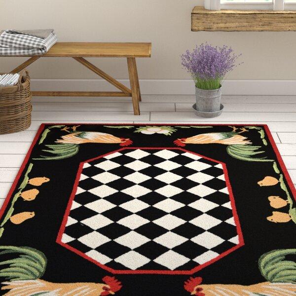 Treport Rooster Handmade Black Indoor/Outdoor Area Rug by August Grove