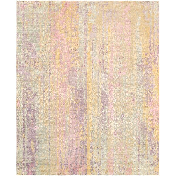 Gemstone Hand-Knotted Wool/Silk Pink/Green Area Rug