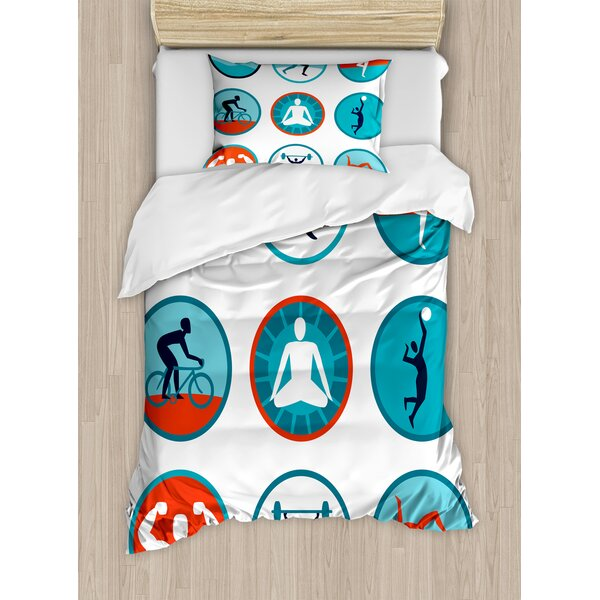 Graphic Circular Icons with Jogging Swimming Meditation Sports Themed Signs Duvet Set by East Urban Home