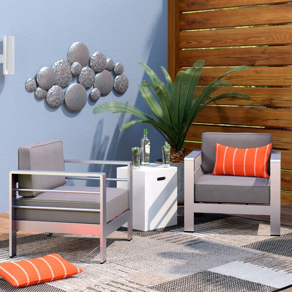 Royalston Outdoor Aluminum Arm Chair with Cushion (Set of 2) by Brayden Studio