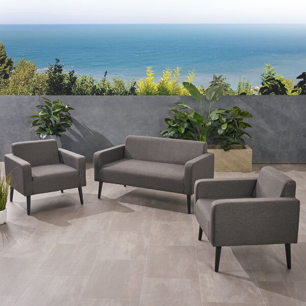 Stein Outdoor 3 Piece Sofa Seating Group with Cushions by Ivy Bronx