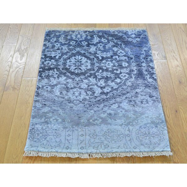 One-of-a-Kind Bowie Art Erased Design Hand-Knotted Blue Silk Area Rug by Isabelline