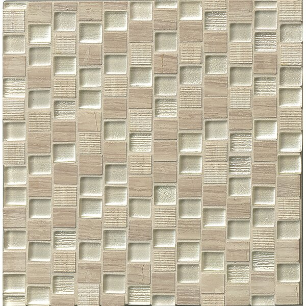 Tessuto  0.75 x 1 Stone and Glass Mosaic Tile in Silver by Bedrosians