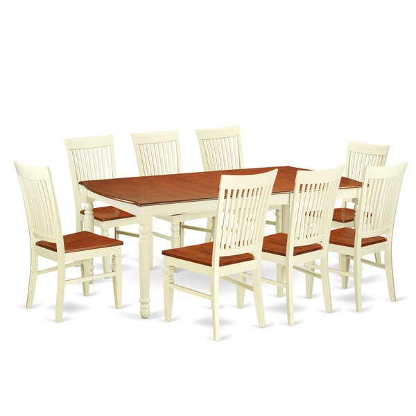 Pimentel 9 Piece Extendable Solid Wood Dining Set by August Grove