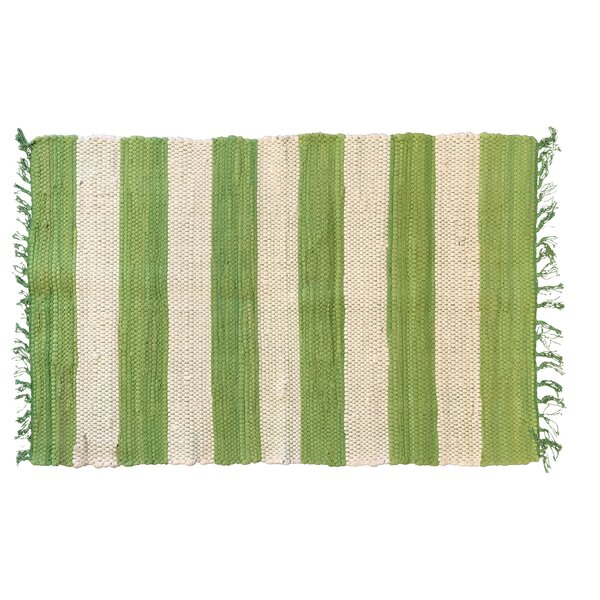 Bruno Stripe Area Rug in Green by Highland Dunes