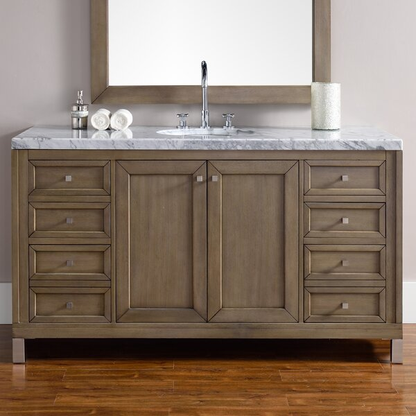 Valladares 60 Single White Washed Walnut Stone Top Bathroom Vanity Set by Brayden Studio