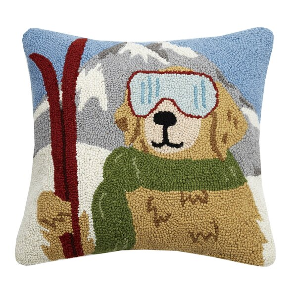 Wylie Skiing Retriever Hook Wool Throw Pillow by Millwood Pines