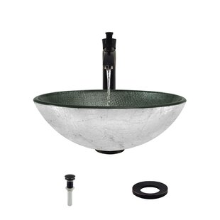 Check Prices Tempered Glass Circular Vessel Bathroom Sink  with Faucet By MR Direct