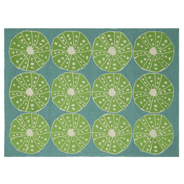 Oceanic Hooked Turquoise Area Rug by Kate Nelligan