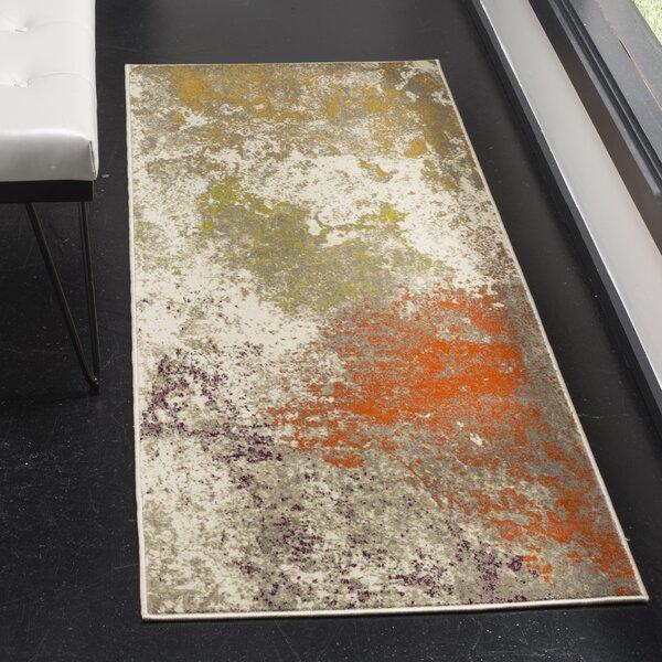 Sorrentino Gray/Orange Area Rug by Wrought Studio