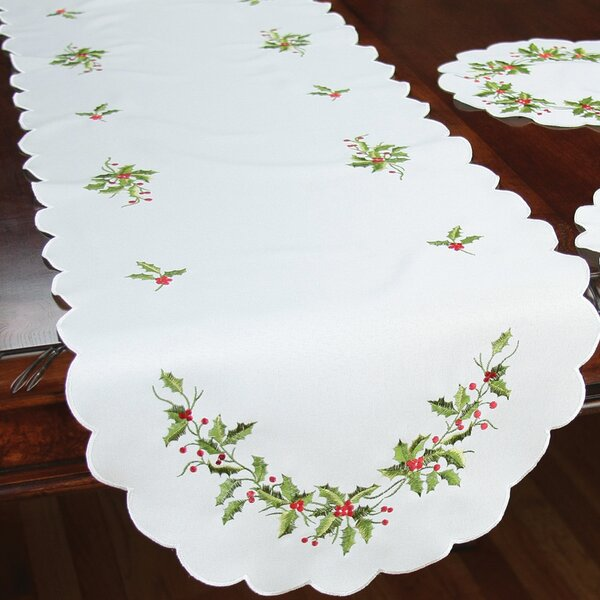 Mistletoe Embroidered Table Runner by Xia Home Fashions