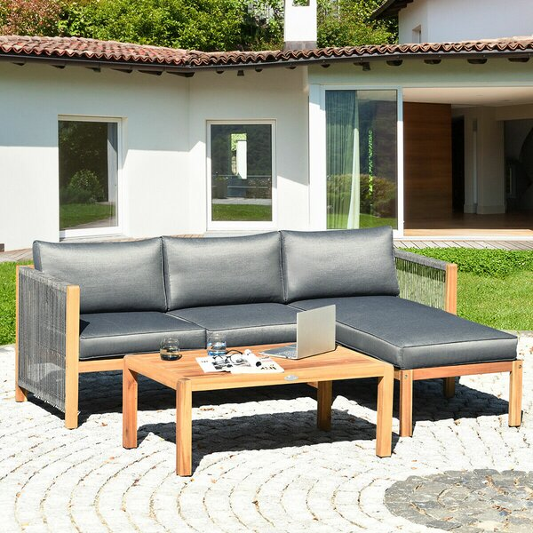 Menzel 3 Piece Sectional Seating Group with Cushions by Highland Dunes