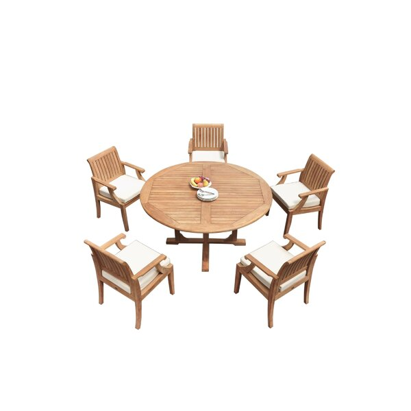 Jovan 6 Piece Teak Dining Set by Rosecliff Heights