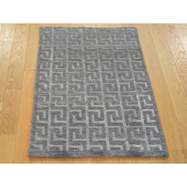 One-of-a-Kind Blair Geometric Design Handwoven Gray Wool/Silk Area Rug by Isabelline