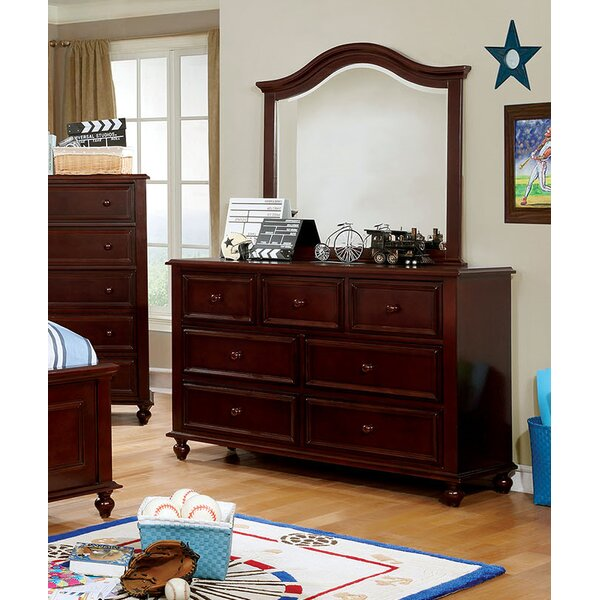 Reinoso 7 Drawer Double Dresser with Mirror by Harriet Bee