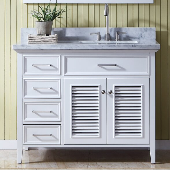 Hamil Right Offset 43 Single Bathroom Vanity Set with Mirror by Highland Dunes