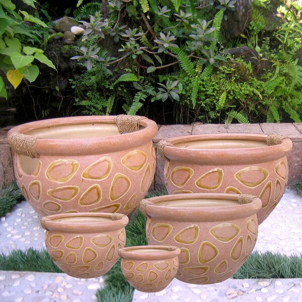 5-Piece Ceramic Pot Planter Set by International Caravan