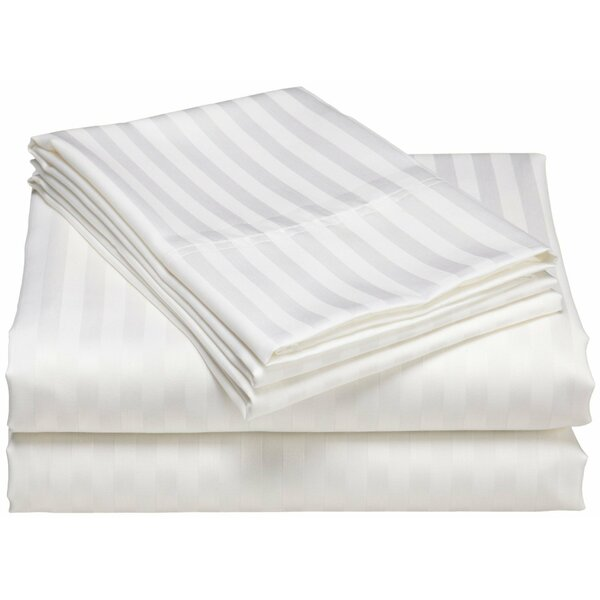 Cazares Stripe Weave 1200 Thread Count Egyptian-Quality Cotton Sheet Set by Rosecliff Heights