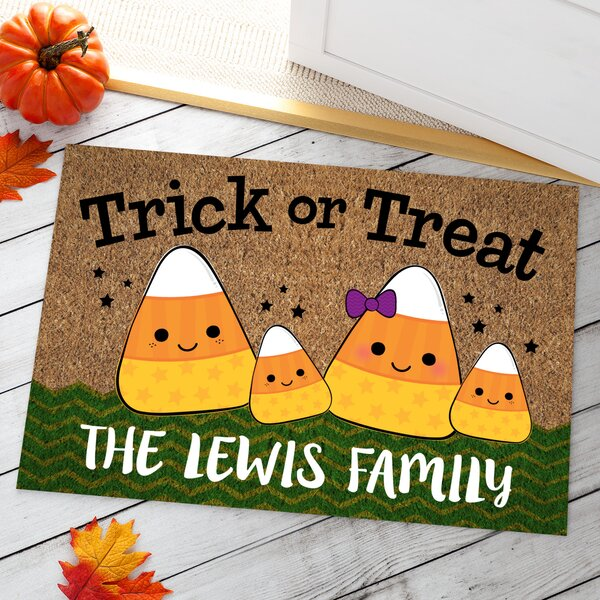 Aguirre Candy Corn Family of Four Personalized Doormat by The Holiday Aisle